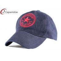 China Heavy Brushed Golf Baseball Hats Velcro Strap Hats With Flat Embroidery wholesale