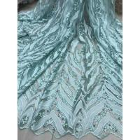 China Beaded Embroidered Lace Fabric , 3D Flower Lace Mesh Fabrics For Evening Gowns wholesale