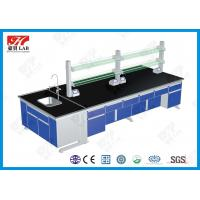 China PVC Handle Steel Wood Lab Island Bench For University Laboratory wholesale