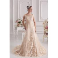 China Champagne Off The Shoulder A-line Sweep Train Romantic Lace Wedding Gowns With Beads wholesale