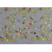 China Soft Colored Embroidered Floral Lace Fabric / Net Lace Fabric For Women Wedding Dress wholesale