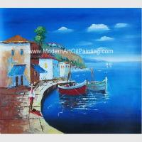 China Framed Seascape Mediterranean Oil Painting Canvas Handmade By Palette Knife wholesale