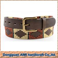China AIMI Handmade Polo Belt, Red Yellow Threads Diamond Polo Belt for Unisex on sale
