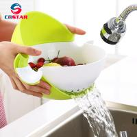 China Double Round Rotation Plastic Draining Basket,Multifunctional Washing Bowl Strainer Colander Basin for Fruits Vegetable wholesale