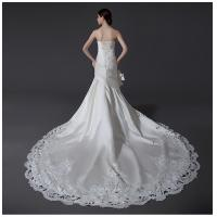 China Ladies Sweetheart Neckline Satin Wedding Dresses with cathedral train , white wholesale