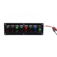China Plastic 7 Gang LED Rocker Switch Panel with 4.2A Dual USB Socket with Volt display Pre-Wired for Auto Car marine Truck wholesale