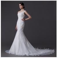China Ladies Organza mermaid One Shoulder Wedding Gowns cathedral train wedding dresses wholesale