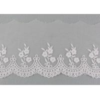 China Embroidered Floral Lace Fabric Scolloped Edging Nylon Mesh Cotton Lace Bridal Ribbon wholesale