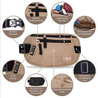 China Light Brown Waist RFID Travel Bags Wallet  for Passport / Cash / Sport wholesale