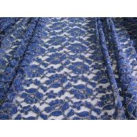 China Royal Blue Cotton Nylon Gold Metallic Crochet Lace Fabric By The Yard wholesale
