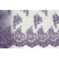 Quality Beaded Embroidered Mesh Lace Fabrics, 3D Floral Lace Fabrics For Evening Dresses for sale