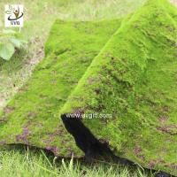 China UVG landscape decor accessories flocking artificial moss carpet garden synthetic grass mat for indoors use GRS041 on sale