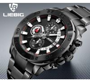 Quality Wholesale LIEBIG  Fashion Business Sport Men Multifunction Chronograph Steel Strap Luminous Quartz Wrist Watches  S204 for sale