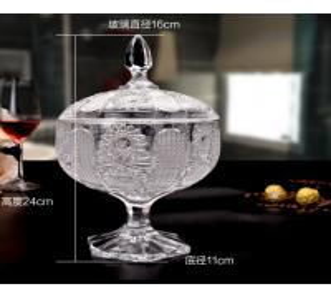 China Sunflower Wedding Glass Candy Jar Decorative Sugar Pot Machine Pressed on sale