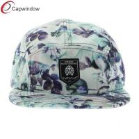 China Blue Floral Print Adjustanle Strapback 5 Panel Camper Cap With Nylon wholesale