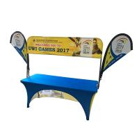 China Tradeshow Advertising Spandex Elastic Polyester table cloths with teardrop flag wholesale