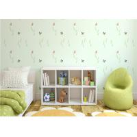China Non Woven Eco Friendly Kids Bedroom Wallpaper Butterfly and Green Plants Pattern wholesale