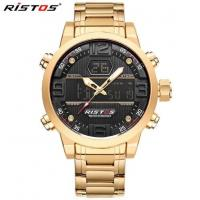 China Ristos Men Dual Time Steel Band  Multifunction Chronograph Waterproof 30m Sport  Watches 9338 wholesale