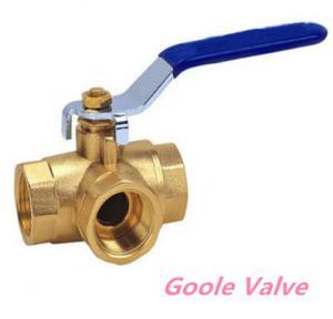 China Manual handle Three way brass ball valve wholesale