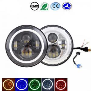 China Amber / Blue / Halo Led Headlights 6000-6500K 70W Jeep Wrangler Angel Eyes Headlights wholesale