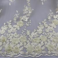 China 3D Floral Lace Fabric With Beaded Embroidered Polyester Fiber For Party Gowns wholesale