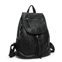 China Drawstring Fashion Ladies Backpack Washed Leather With Adjustable Shoulder Strap wholesale