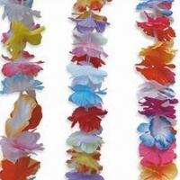 China Hawaiian Flower Leis with 90cm Length, Made of 100% Polyester, Available in Multicolor wholesale