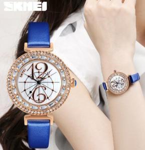 China 2017 New Skmei Fashion Women Genuine Leather Strap Shell Dial Rhinestone Wrist Watches 9158 wholesale