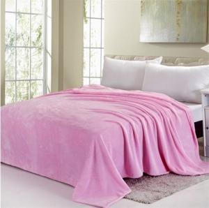 China Blue / Pink Colorful Coral Custom Fleece Blankets , Polyester Soft Kids Fleece Blanket on sale