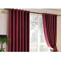 China Washable Red Polyester Jacquard Window Curtains For Bedroom Shrink Resistant wholesale