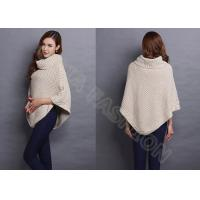 China Winter Chunky Turtle Neck Womens Cellular Knit Sweaters in Poncho Style , White wholesale
