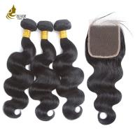"""Buy cheap Body Wave Indian Real Human Hair Extensions With Closure 8 - 32"""" Length from wholesalers"""