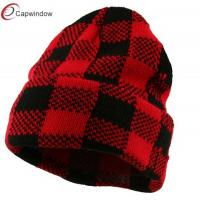 China Red Black Buffalo Plaid Cuff Beanie Winter Hats with Cozy Soft and Light Fabric wholesale