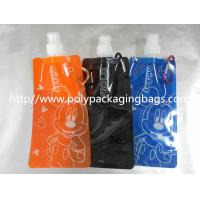 China Orange / Blue Plastic Water Bags Stand Up Pouch With Spout Packaging on sale