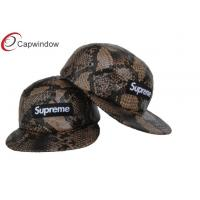 China Snakeskin Leather Supreme 5 Panel Camper Cap Custom Made Baseball Caps With Plastic Strap wholesale