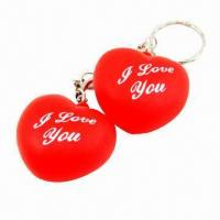 Buy cheap Holiday Gifts/Valentine's Day Flash Keyring, Measures 45 x 45 x 20mm from wholesalers