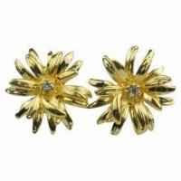 China 2012 Wholesale metal earring ,zirconia stud Earrings with plated gold for Gift wholesale