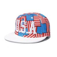 China Allover USA Flag Hip Hop Caps Velcro Strap Hats With 3D Embroidery wholesale
