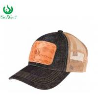 China Multi - Panel Sport Custom Printed Baseball Hats With Leather Patch wholesale