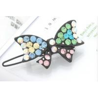 China Alloy Copper Women's Crystal Jeweled Hair Accessories Butterfly Hairpin Jewelry for Gift on sale