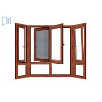 China Wooden Color Swing Open style Aluminum Hinged Window With Fly Screen wholesale