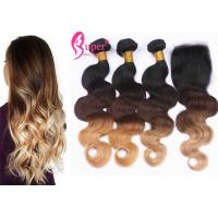 Buy cheap New Style Hair 3 Tone Ombre Color 1B #4 #27 Blonde Closure Virgin Extensions from wholesalers