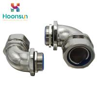 China Right Angle Liquid Tight Fittings Metal Elbow Hose Fittings For Joining Pipe Lines wholesale