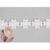 China Embroidered Flower Appliques Cotton Lace Trim Dyeing DTM Color With Small MOQ wholesale