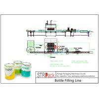 China Industrial Automatic Liquid Filling Line With Piston Filling Machine And Automatic Bottle Labeler on sale