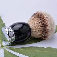Quality Luxury metal base black handle silver tipped badger hair shaving brush 22mm for sale