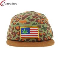 China Tan Self Fabric Strap 5 Panel Camper Cap , Pattersob 5 Panel Strapback Hat wholesale