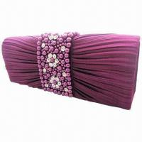 China Elegant Clutched Beaded Evening Bag with Pearls and Rhinestones, Made of Satin/Diamond, OEM Welcomed wholesale