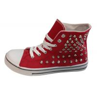China Canvas upper with nail ornament high cut women injection shoes wholesale