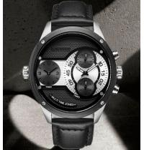 China CADISEN Business and Leisure Random Match Men Multi Time Zone 30m Waterproof Leather Strap Quartz Watch 9057 wholesale